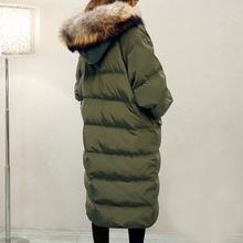 2016 Winter Elegant Women High-end Down Jacket Hooded Fur collar Thicken Warm Pure color Loose Big yards Medium long Coat G0392