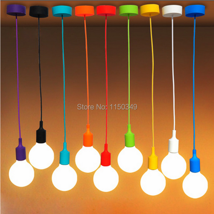 DIY Personality E27 Colorful Silicone Pendant Lamp holder High Quality Pendant Lights with 100cm cord ceiling base(China (Mainland))