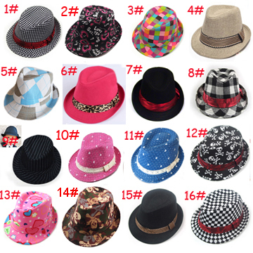kids children fedora hat, baby jazz cap,kids top hat, kids fedoras,boy girls trilby caps children headgear 10pcs/lot LM-0027(China (Mainland))