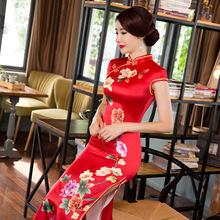 New Arrival Long Slim Women Cheongsam Dress Chinese Ladies Satin Qipao Novelty Sexy Flower Dress Size S M L XL XXL XXXL F080916