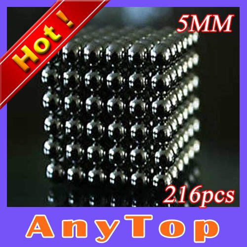 100sets/lot Buckyballs 216 D5mm Black Color Neocube neodymium Toy Neo Cubes Bucky Balls with Tin box packing, EMS Free shipping(China (Mainland))