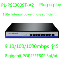 With 1 giga uplink,150w IEEE802.3af/at POE 8 port gigabit poe switch for dahua hikvision HD ipc/IPTV(China (Mainland))