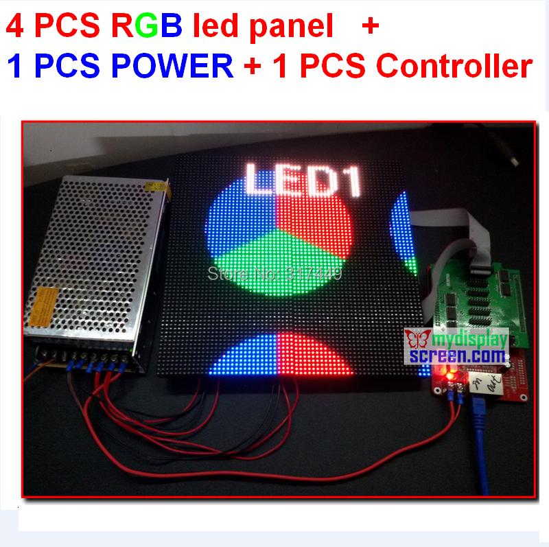4pcs 4mm full color led tile + 1 pcs async controller + 1pcs 5v 40a 110v/220v power supply, all cable fedex/dhl free shipping(China (Mainland))