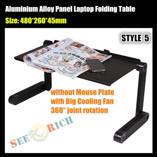 20pcs!Aluminium Alloy Panel Laptop Folding Table (No Mouse Plate, with Big Cooling Fan) Notebook Desk for Sofa/Bed/Office Stand(China (Mainland))