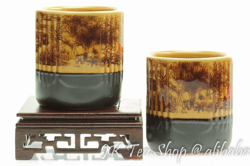 "Painting of Riverside Scene at Qingming Festival"" Square Dinnerware Set Yellow Japanese Tea Cup, 100mlcup Porcelain Dinnerware(China (Mainland))"