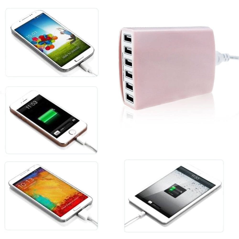 US plug 60W 5V 12A 6-Port USB Hub Wall Charger Adapter For iphone Samsung Cellphone Pink Color(China (Mainland))