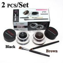 Hot 2 In 1 Waterproof Brown and Black Gel Eye Liner Set Makeup Cosmetics Tools 24Hours Long - Wear Gel Eyeliner With Brush(China (Mainland))