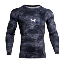 New 3D Impressos Camisetas Homens Camisa Térmica de Manga Comprida Camisa de T Dos Homens de Fitness Musculação Compressão Skin Tight Quick Dry Tops(China)