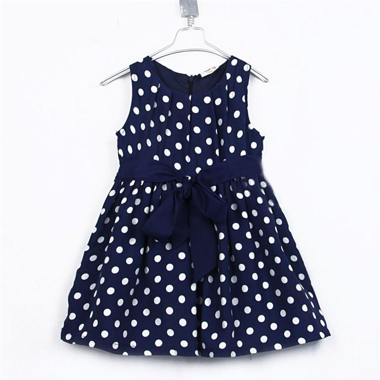 2015 summer new style baby girls fashion dress little girls polka dot vest dress girls pretty clothing A3618(China (Mainland))