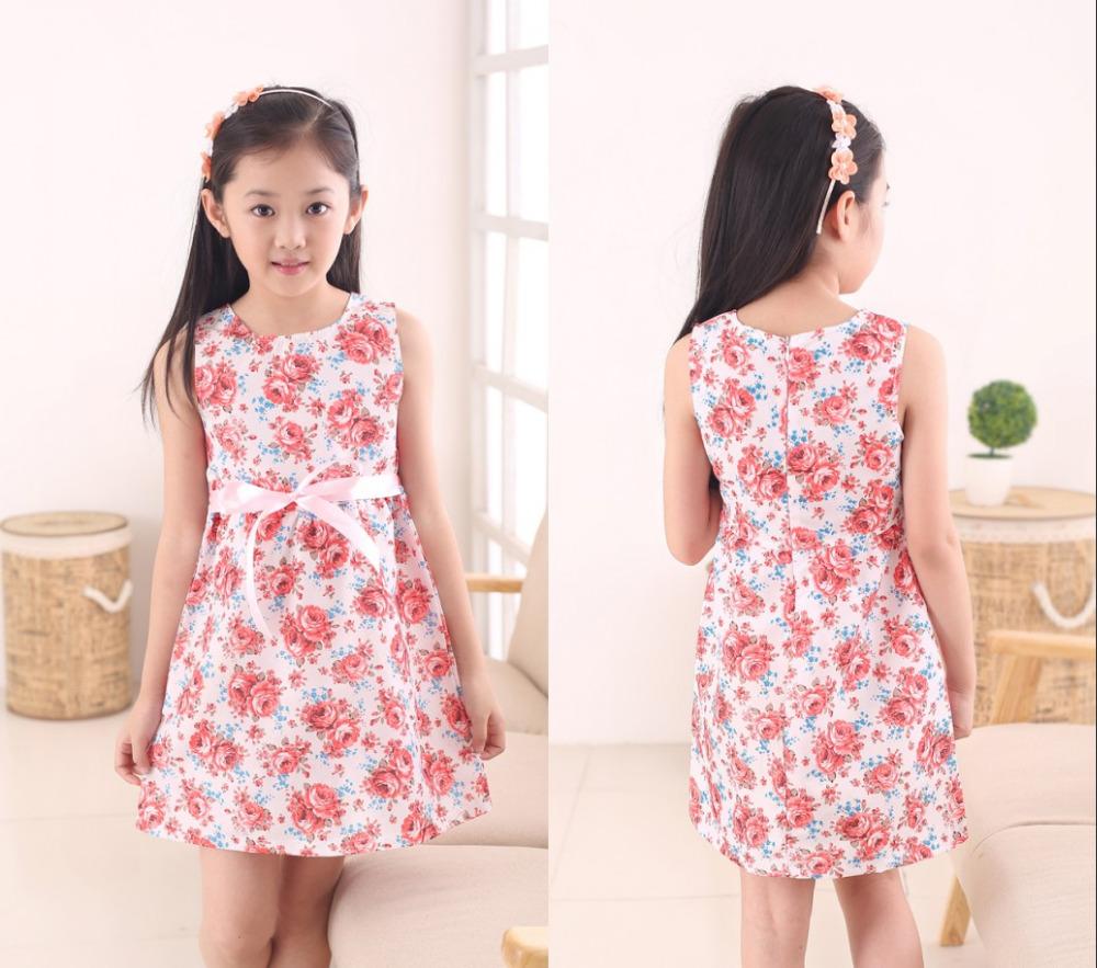 2016 Fashion Kids White Red Bow Trendy Flower Vestidos Infantis Dress Girls Summer Birthday Party Flower
