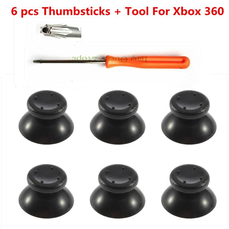 6 pcs black 3d analog joystick + T8 Screwdriver Tool for Microsoft Xbox 360 Controller Thumbsticks for X box 360 repair parts(China (Mainland))