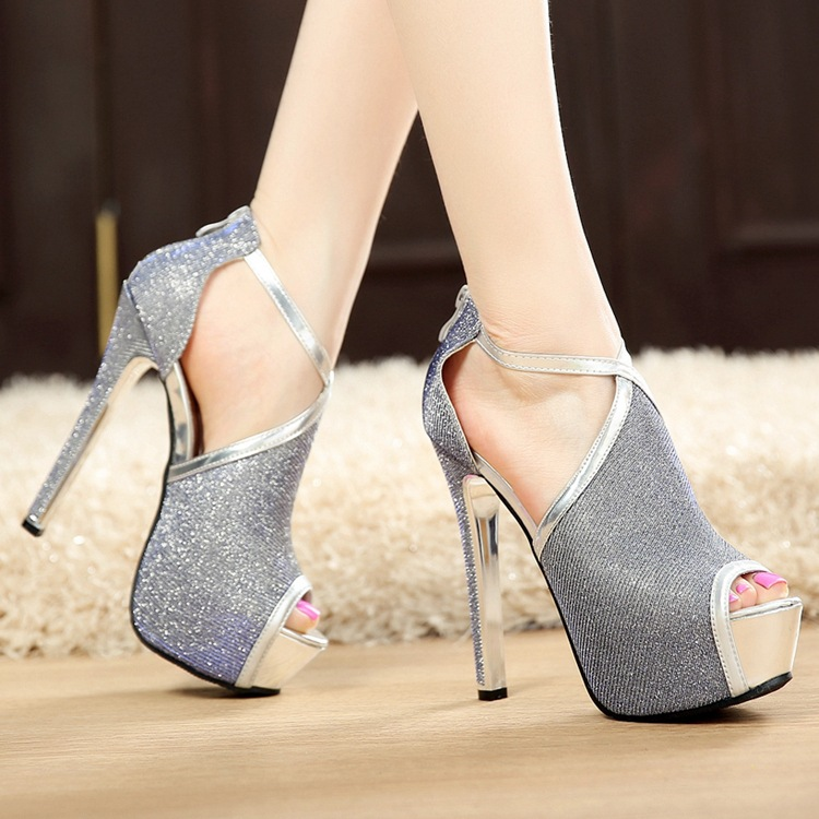 Sexy Nightclub 14CM High Heeled Sandals In Summer With Fine Fish Mouth Hollow Sequin Cross Straps Women Shoes