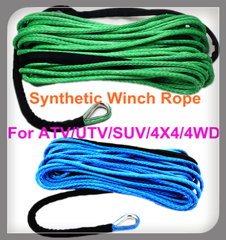 Free Shipping 12MM*30M 12 strand UHMWPE Synthetic Winch Rope With Thimble use for ATV/UTV/SUV/4X4/4WD/off-road