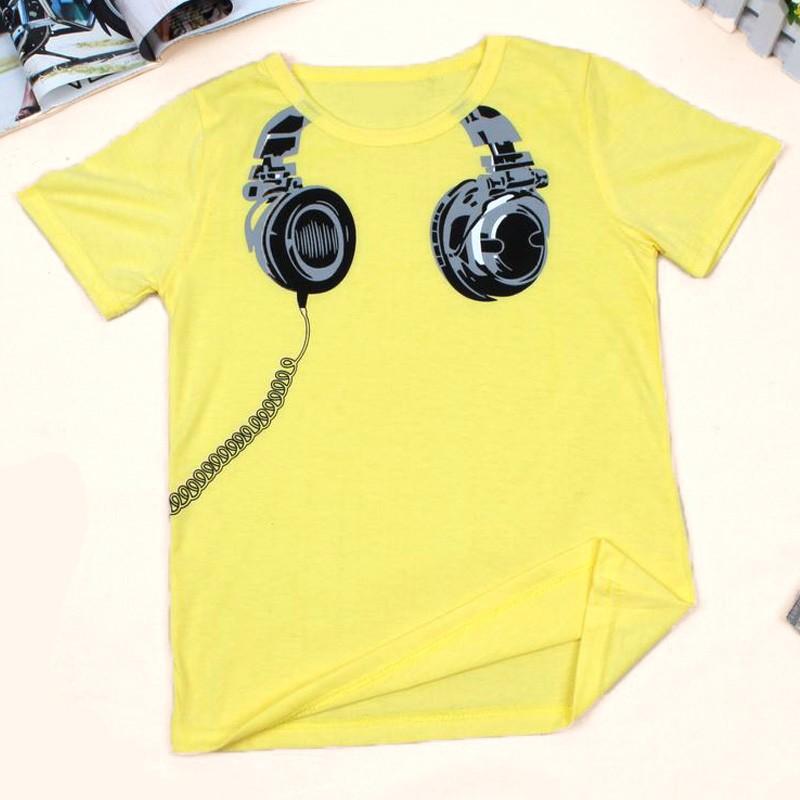 2016 Children Short Sleeve Girls Tops Summer Style Funny 3D Headphone Design Pattern Tees Clothes #30