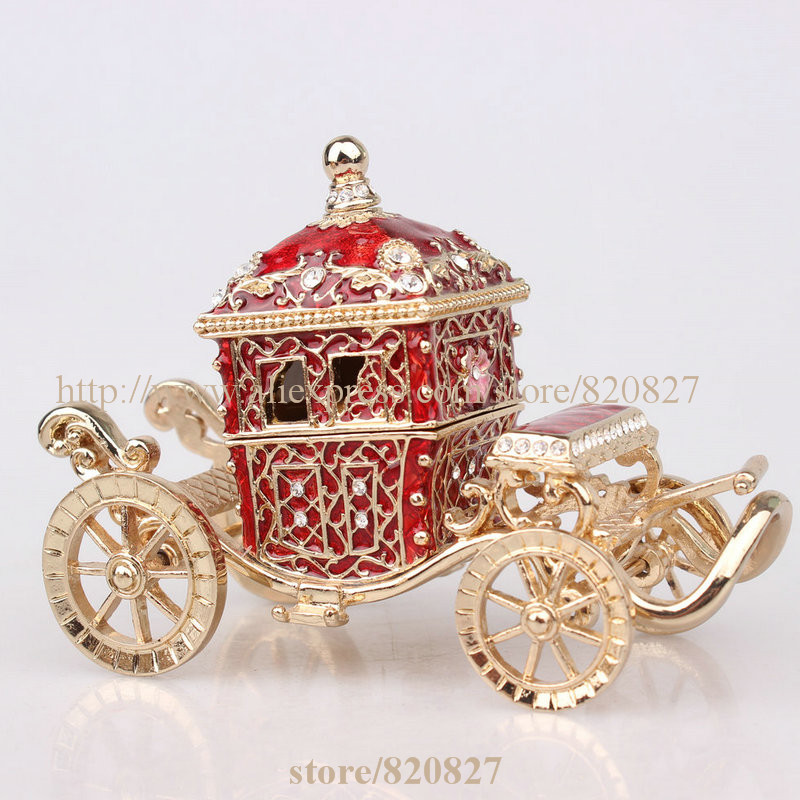 Royal Crown Car Treasure Jewelry Box Crown Trinket Box Fairy Carriage Form Trinket / Jewelry Box Gift Her Majestys Carriage(China (Mainland))