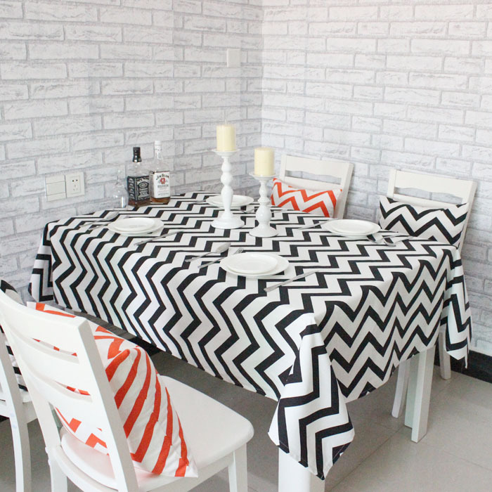 Wave geometric printing cotton table tablecloths simple and stylish coffee table cloth stripes(China (Mainland))