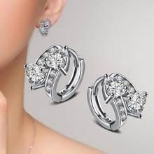 Całkowicie wyłożone kryształkami kolczyki luksusowe 925 srebro kolczyki w kolorze dla kobiet cyrkon kolczyki biżuteria Brinco Earing Oorbellen(China)
