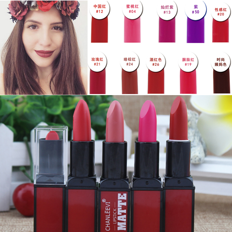 Branded Makeup 9 Color rouge levre Lip Kits Waterproof Red Velvet Nude Matte Lipstick Lot Lip batom Tattoo Make Up Wholesale(China (Mainland))