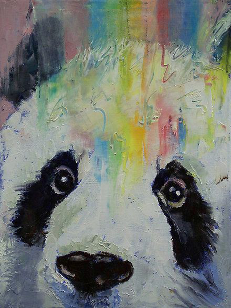 High Quality Animal Paintings Cute Animal China Panda Oil Painting On Canvas For Living Room Decoration Colorful Panda Picture(China (Mainland))