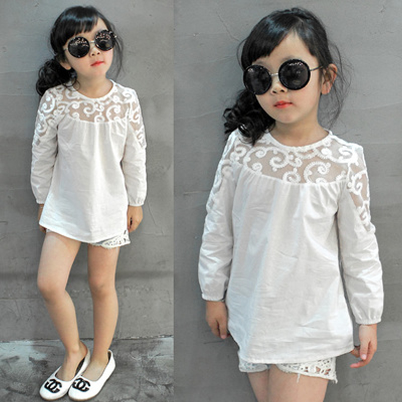 2015 Spring New Arrival Fashion Brand Children Clothing Kids White Shirts Baby Tops Girls Lace Patchwork Cotton Princess Blouse