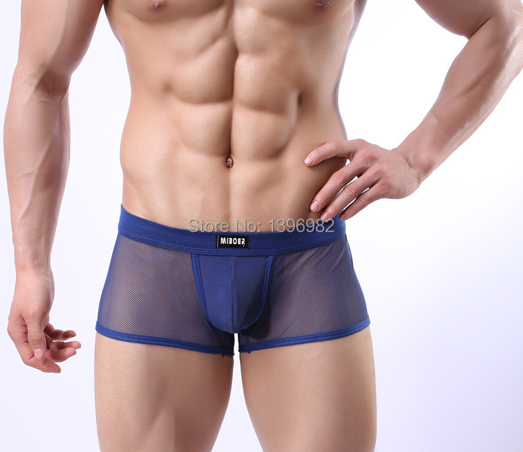 Sexy Underwear Men boxer U Convex Thin Breathable Grid Pouch Boxers(China (Mainland))