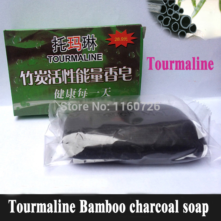 Tourmaline Soap/Bamboo Charcoal Soap/face & Body Beauty Healthy Care/Free Shipping 2015 Hot Sale Special offer 1PCS(China (Mainland))