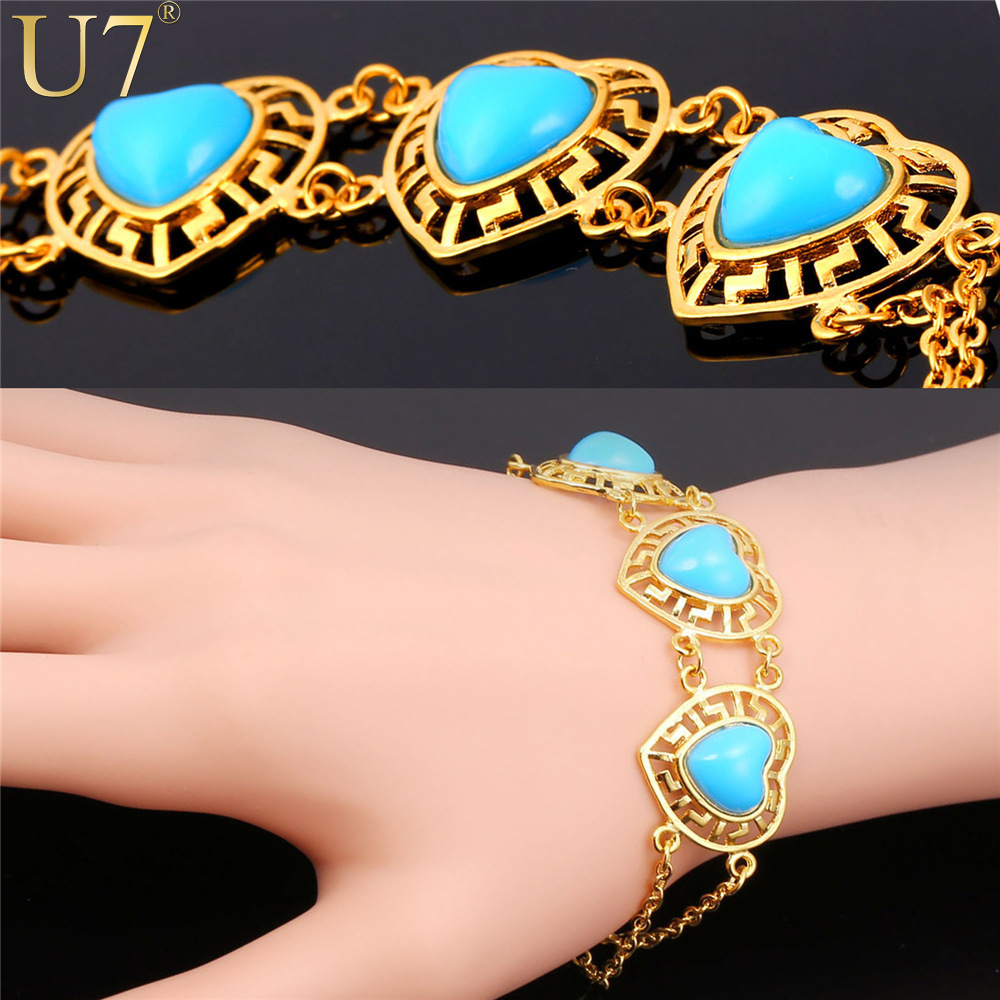 U7 Gold Plated Bracelet For Women Blue Semi-precious Stone Turquoise Jewelry Trendy Romantic Love Heart Charm Bracelets H806(China (Mainland))