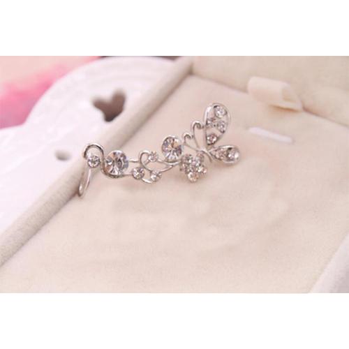 New Fashion Lovely Shiny 1Pc Butterfly Flower Rhinestone Crystal Ear Cuff Earring Wrap Clip Ear Stud(China (Mainland))