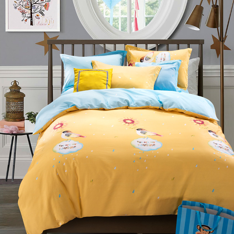 Fashion Cartoon 100% Cotton Kids Bedding Set Comforter Duvet Cover Sets For Children Bedsheet Style Queen Size Bedspread(China (Mainland))