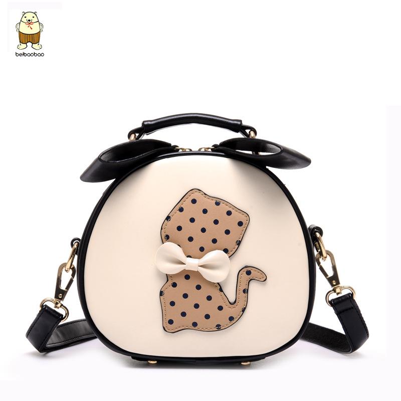 2015 Summer Korean Cute Cartoon Cat Bag Women Tote Bag Leisure bowknot ladies Messenger Bags B41D3(China (Mainland))