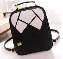 2015 fashion women backpacks patchwork girl student school bags PU leather travel rucksack bag free shipping Q0(China (Mainland))