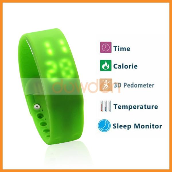 Mutli-Function Unisex LED USB Wrist Watch 3D Pedometer Calorie Temperature Sleep Monitor Time Bracelet(China (Mainland))