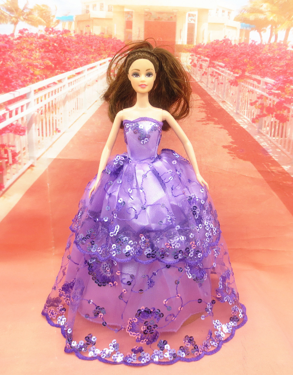 2015 Free shipping New hot Handmade Party Doll's beautiful Dress Clothes Gown For Barbie best baby christmas 22(China (Mainland))
