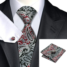2015 New Noble Black Tie Silver Red Paisley Silk Tie For Dating Wedding Party Tie Hanky Cufflinks Set Freeshipping C-359(China (Mainland))