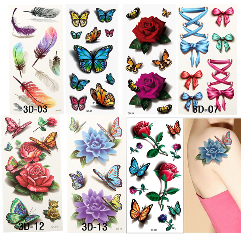7pcs Style Sex Products Fake Henna 3D Tattoo Temporary Tattoo For Woman Waterproof Transferable Tattoos Sleeve Body Sticker Arm(China (Mainland))