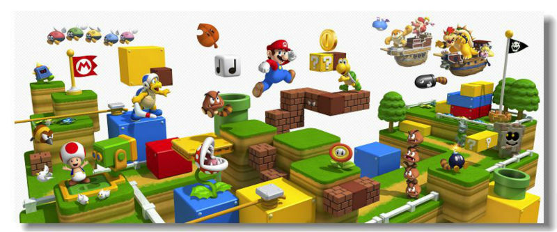 Super Mario 3d World Mapa Super Mario 3d Game Silk Wall