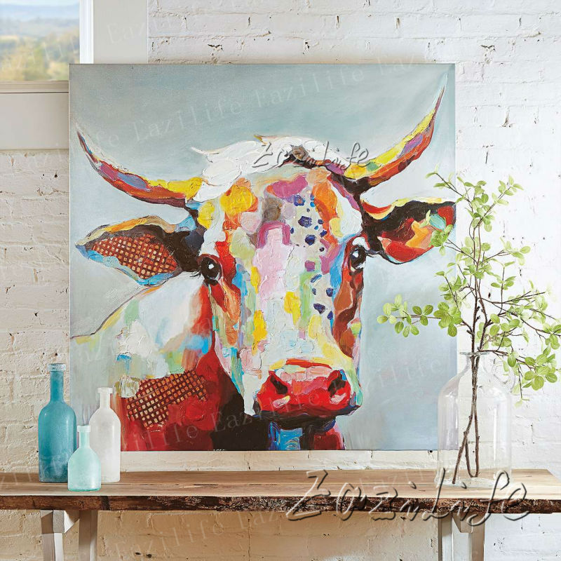 Cow Oil painting On Canvas Wall Pictures Paintings For Living Room Wall Art Bull plattle knife modern abstract hand painted(China (Mainland))