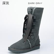 INOE moda lace up bow botas de nieve del invierno para las mujeres altas calidad zapatos de cuero partido de la vaca de invierno forrado de piel sintética larga botas(China (Mainland))