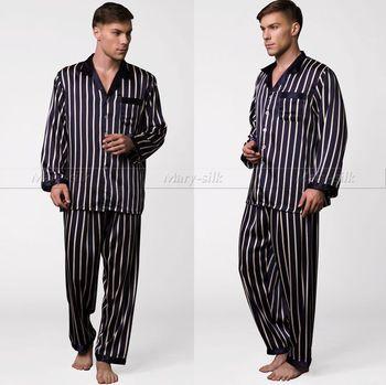 Mens Silk Satin Pajamas Set Pajama Pyjamas PJS Set Sleepwear Loungewear U.S.S,M,L,XL,XXL,3XL Strip Plus Size