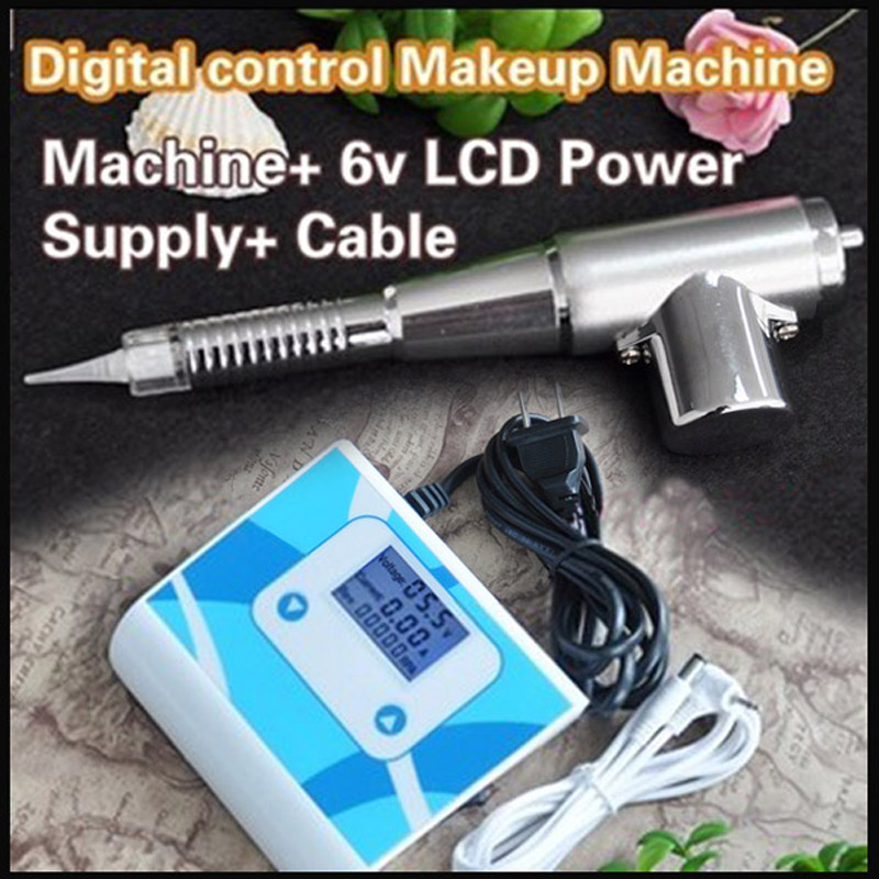 35000M Best Tattoo Eyebrow Lip Pen Permanent Makeup Machine With LCD Power Supply(China (Mainland))