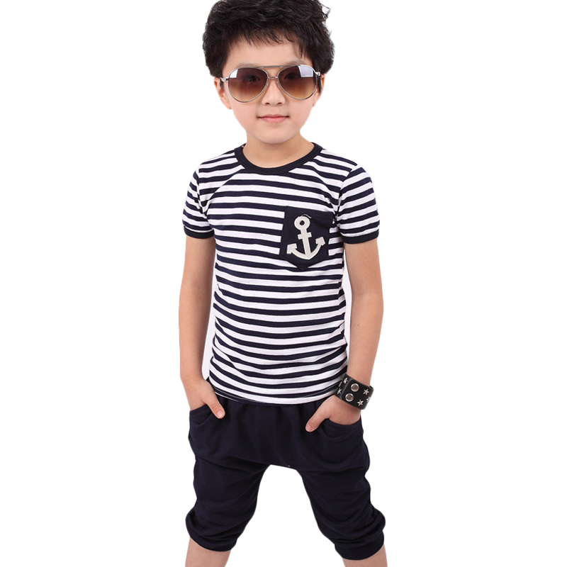 New 2015 summer clothing sets kids pants Top boys girls Stripe and plaid clothes children tracksuit