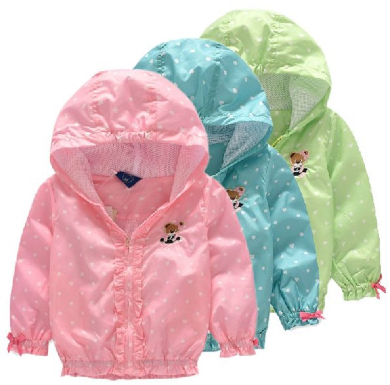 Children's Jacket Coat For Girls Double-deck Waterproof Windbreaker Polka Dot Baby Girls Outerwear Coats 2-8 Years Kids Clothes(China (Mainland))