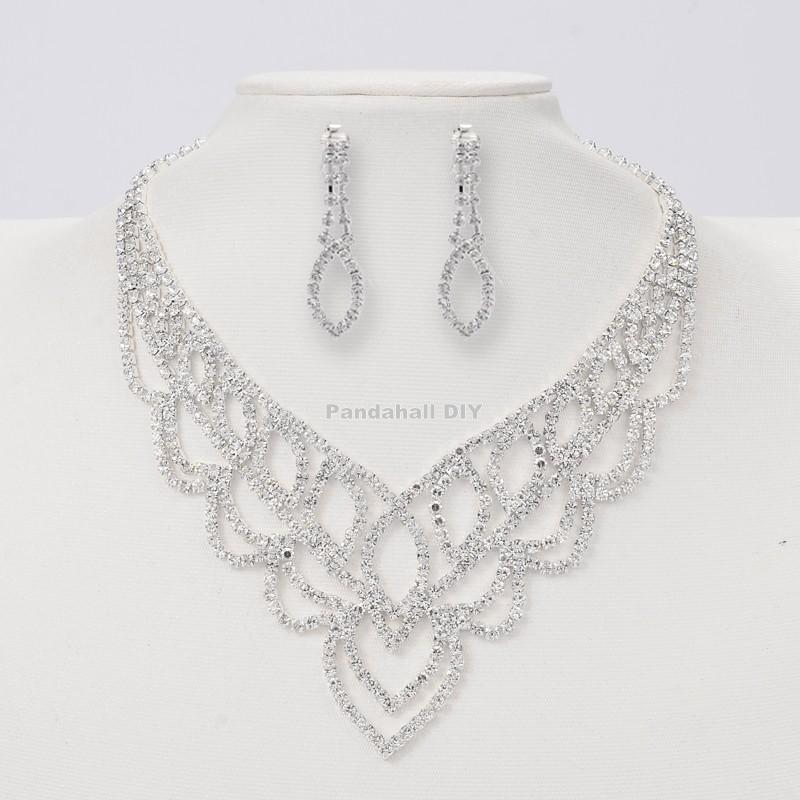 Silver Tone Brass Rhinestone Cup Chain Wedding Jewelry Sets, Bib Necklace and Clip on Earring, Alloy Lobster Claw Clasps and(China (Mainland))