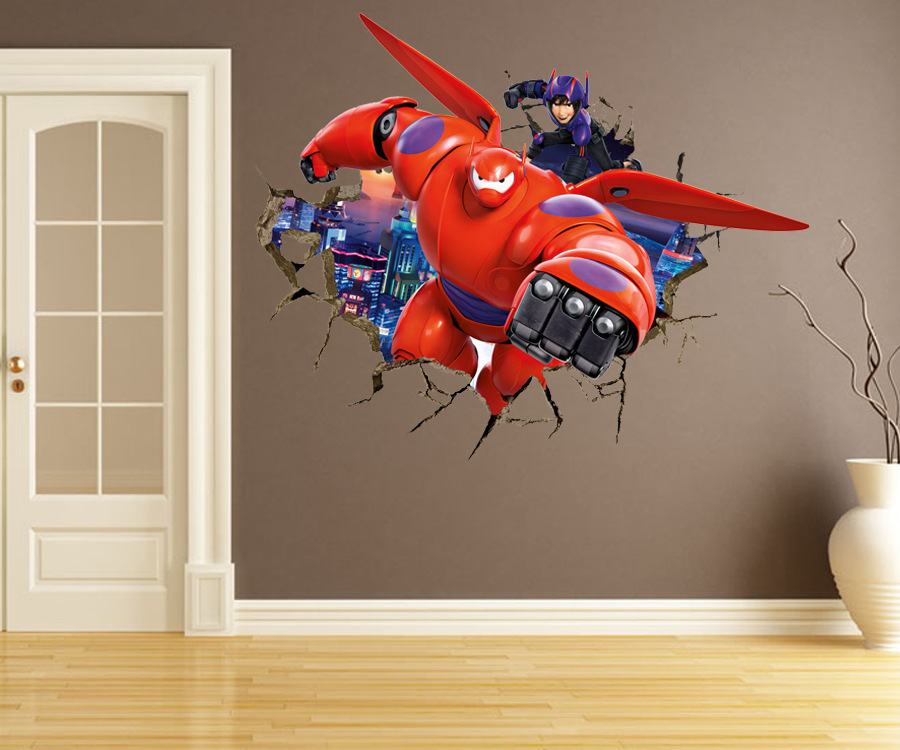 3d Armor Baymax Big Hero 6 Wall Stickers For Kids Room