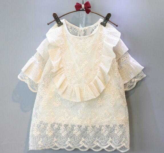 2016 New Fashion Spring Summer Three Quarter Children 2pc Clothing Set Dress Kids White Lace Dress Girls Two Piece Dress<br><br>Aliexpress