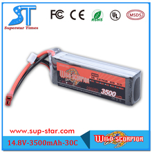 Wild Scorpion 4S Lipo Battery 14.8v 3500mah 30c RC Helicopter Drone Batteria