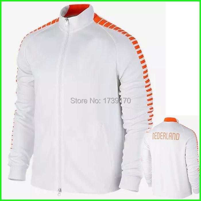 Netherlands 2015 Soccer Jacket White Man Embroidery Logo Men's Holland Football Jackets Training Coat Long Hot Sell Good Quality(China (Mainland))