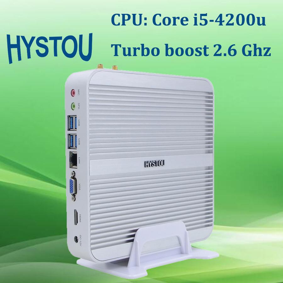 Hystou 3 Years Warranty Fanless PC 4GB RAM 128GB SSD Media Server i5 4200U Mini PC Windows 10 Mini Computer HDMI VGA 4K HTPC(China (Mainland))