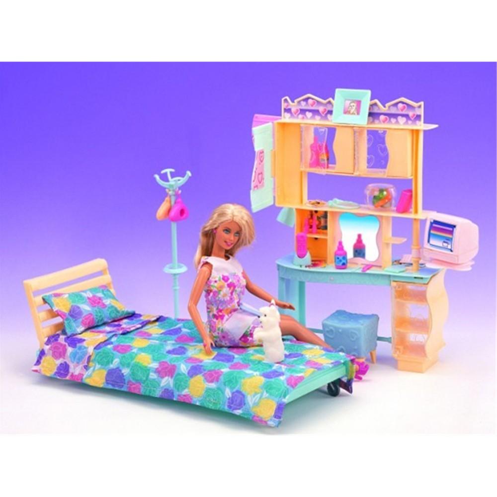 Miniature Furnitures Go well with Tender Yellow Bed room Mini Equipment for Barbie Doll Home Traditional Toys for Lady Free Transport