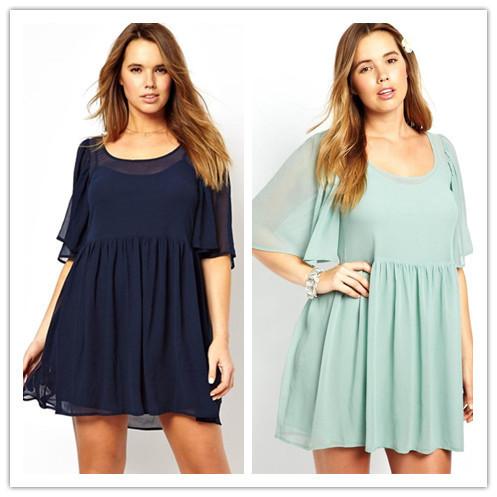 Mint /Navy Angel Sleeve Mini Plus size Smock Dress LC2978 new 2015 sexy women summer dress(China (Mainland))